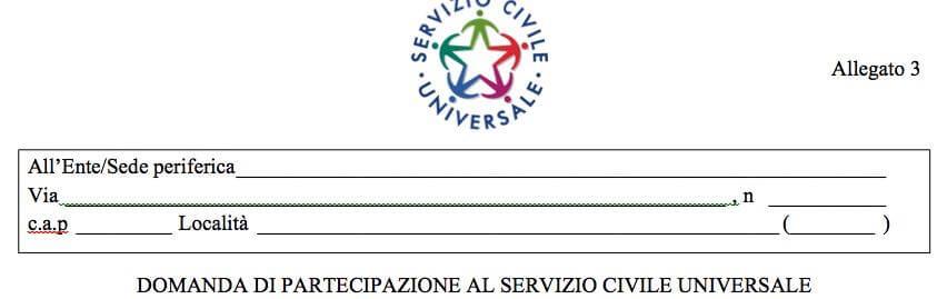 Domanda di ammissione al servizio civile