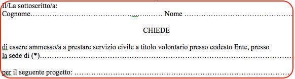 Domanda di ammissione al servizio civile 2